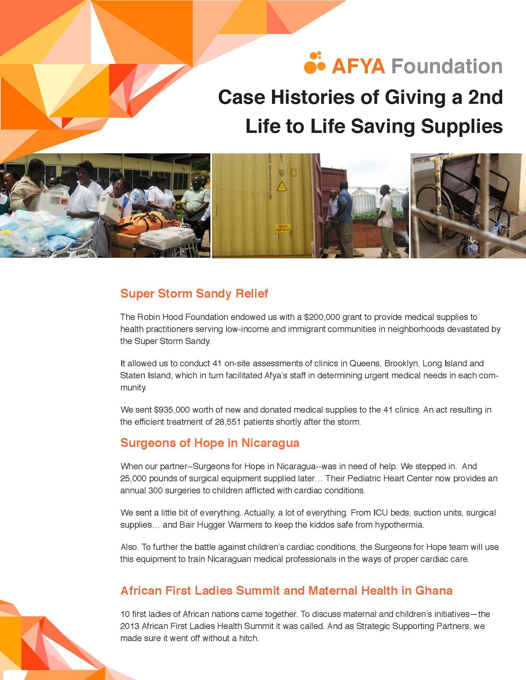 AFYA Case Histories