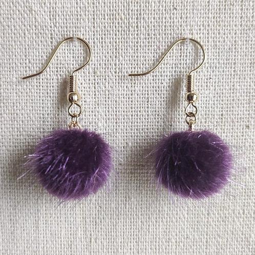 Boucles Pompons Festifs - Violet