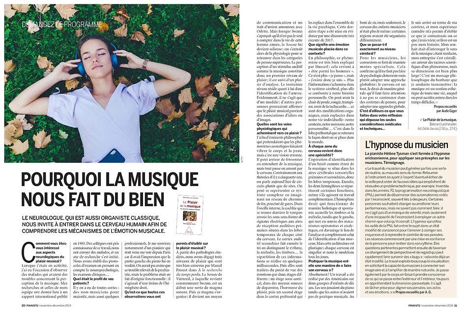 Article de l'Hypnose du Musicien dans le magazine Pianiste