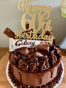 60th birthday Galaxy and minstrels cake