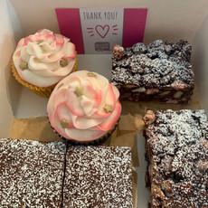 Vanilla cupcakes, rocky road & brownies