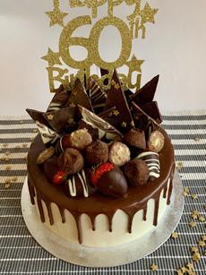 60th Birthday cake with hand-made choc shards, truffles and choc dipped strawberries
