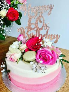 60th Birthday celebration cake with roses