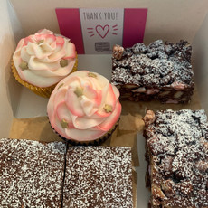 Mix box of vanilla cupcake, rocky road & brownies