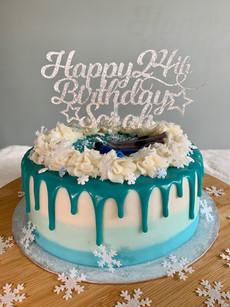 Ski themed birthday cake