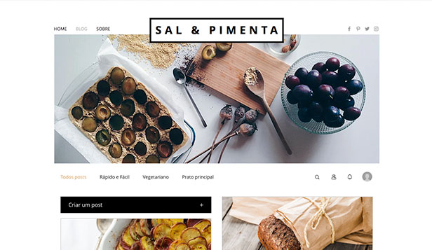 Mais Usados website templates – Blog de Comida