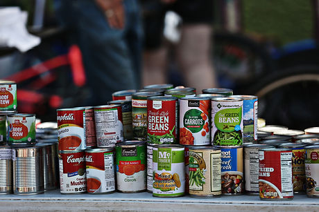 photo of canned goods stacked together