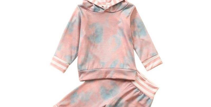 2 Piece Stripe Hood Pink Tie Dye Set