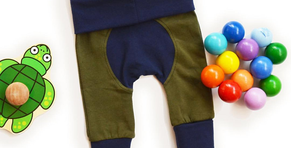 Grow With Me Pants Olive and Navy