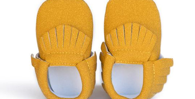 Mustard Yellow Fringe Baby Moccasins