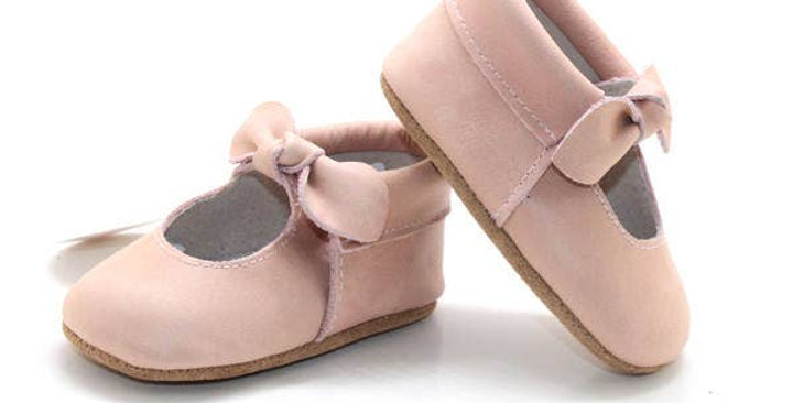 Knotted bow Maryjane Moccasins - Pink