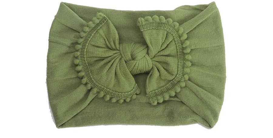 Olive Pom Pom Headband