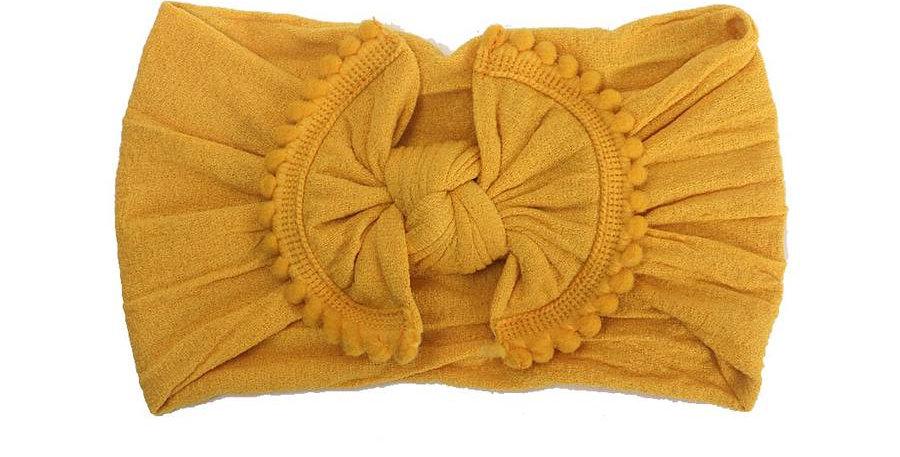 Mustard Pom Pom Headband