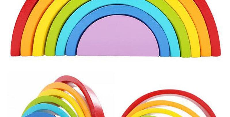 Wood Rainbow Building Blocks