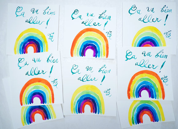 8 Cartes à l'Aquarelle Ça va bien aller!