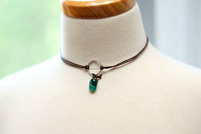 Chocker necklace with Leather cord and fusing glass pendent hand made designer jewelry