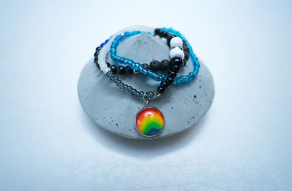 Bracelet stack with glass beads and Rainbow Hand made jewelry