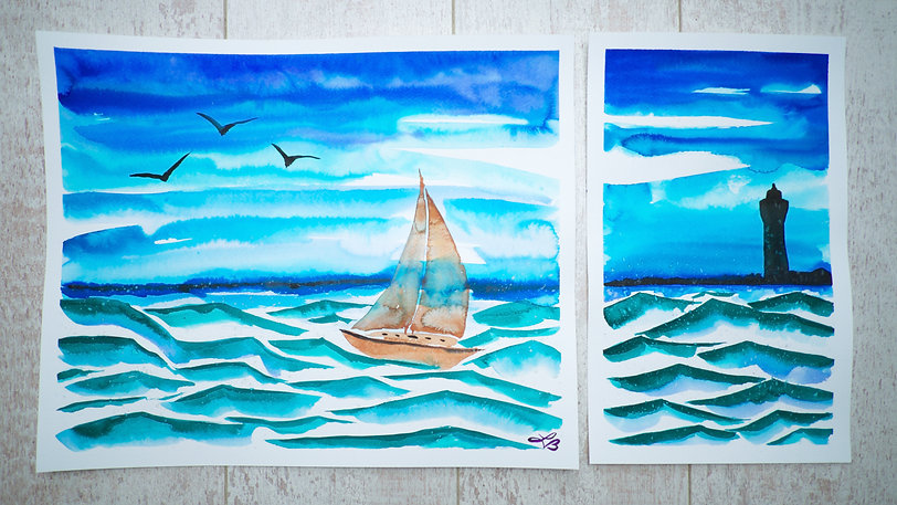 Uniue han painte Water Color Sailboat at see going to a Light house