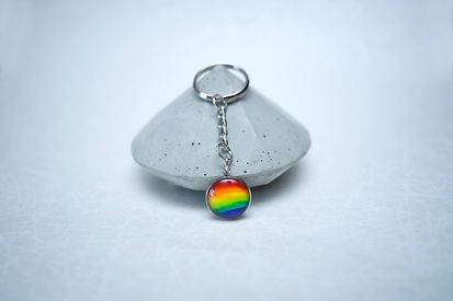 Rainbow Keychain Hand made with water color & Stainles steel hand made jewelry