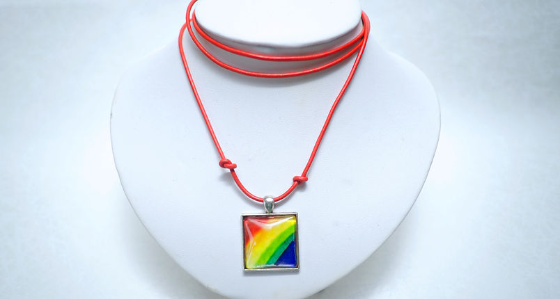 Rainbow Necklace with Leather Cord