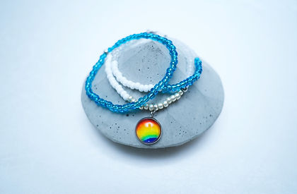 Hand painted Rainbow bracelets stack with glass and stainless steel pendant