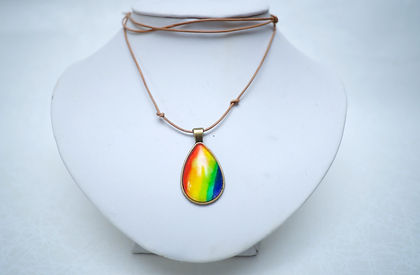 Water drop rainbow water color pendent hand made necklace designer jewelry