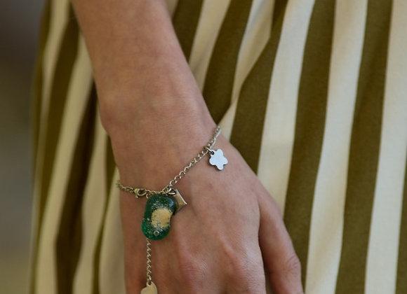 Bracelet Breloque et Pendentif en Verre