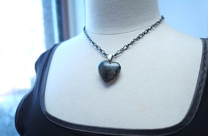 Heart Labrodite pendent with Silver bail Necklace