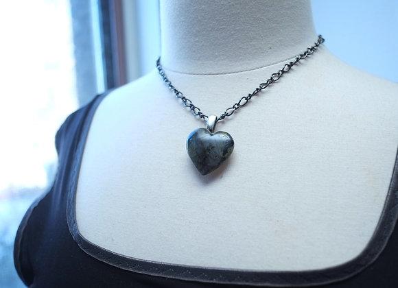 Collier Unique avec Labradorite Coeur