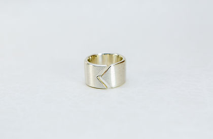 Steling siler ring for men with Chevron Knight Symbol