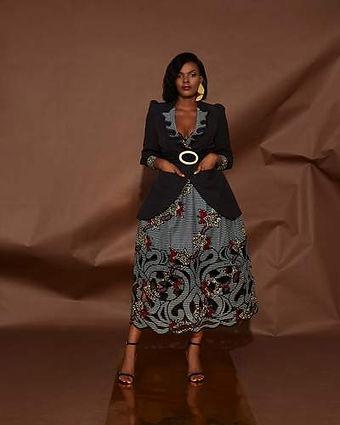 Christie brown embroidered lapel blazer.