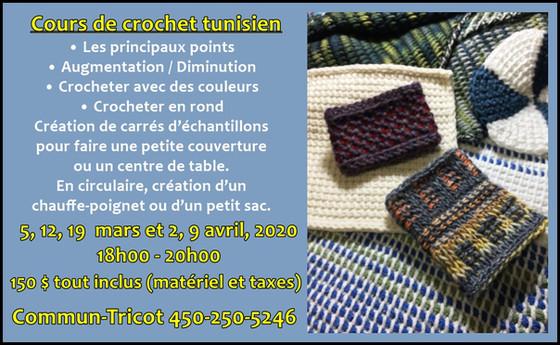 Cours de crochet tunisien de base avec Marie-Christine Boivin