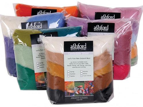 Corriedale sept couleurs, sac de 100g