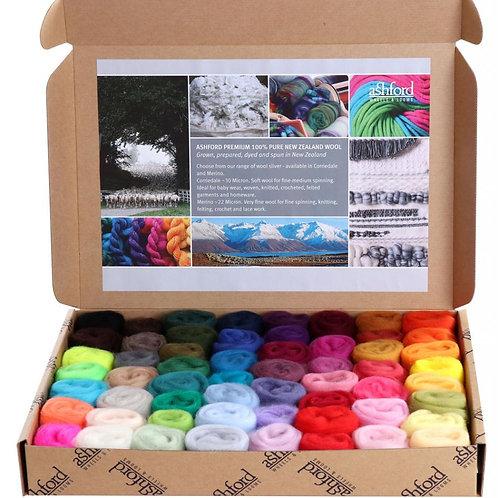 Paquet d'échantillons de fibres Merino - Gamme de couleurs complète