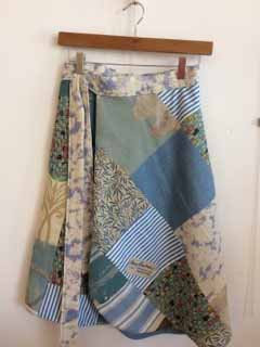 Unique Patchworked wraparound reversible skirt