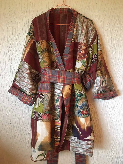 Patchworked reversible kimono-style heavy coat