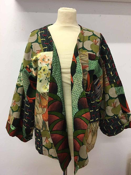 Patchworked reversible kimono-style heavy jacket