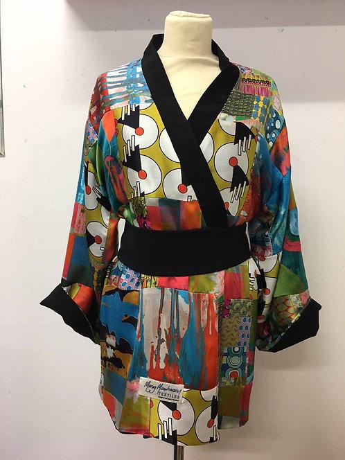 Silk Patchwork Kimono-style Robe (black lining)