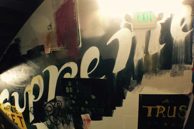 Interior mural with font lettering from a street artist