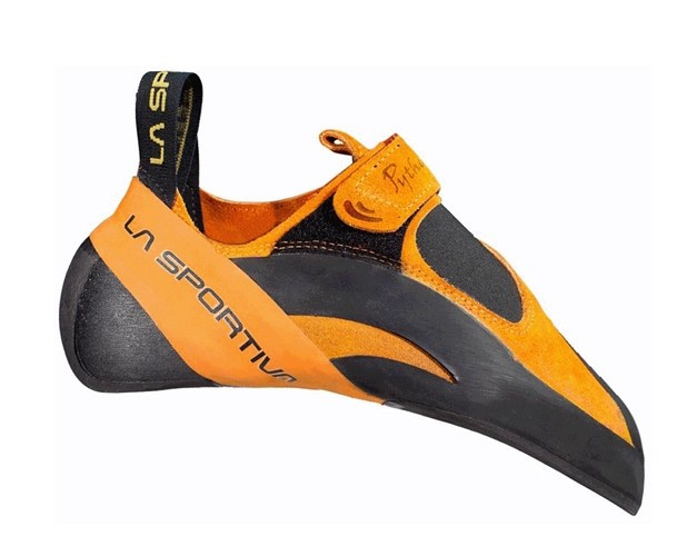 A down turned climbing shoe with Velcro