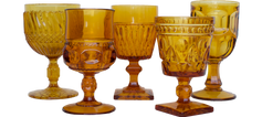 Amber Water and Wine Glassware