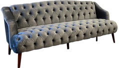 Slate Gray Velvet Tufted Sofa