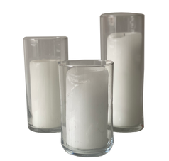 Assorted Hurricane Glass + Pillar Candle
