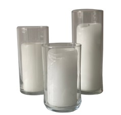 Assorted Hurricane Glass + Pillar Candle