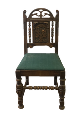 Carved-Wood Green-Linen Dining Chair