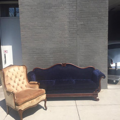 Dark blue crushed velvet sofa
