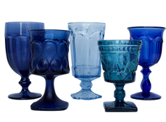 Blue Water and Wine Glassware