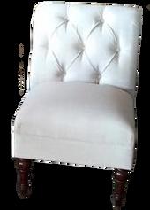 White Tufted Linen Slipper Chair