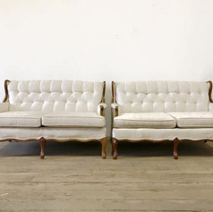 White provincial brocade loveseat