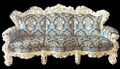 Teal Cut Velvet Damask Sofa